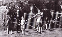 The von Rosts' children with horses before 1945